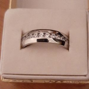 Men's stainless steel cz accent ring size 9